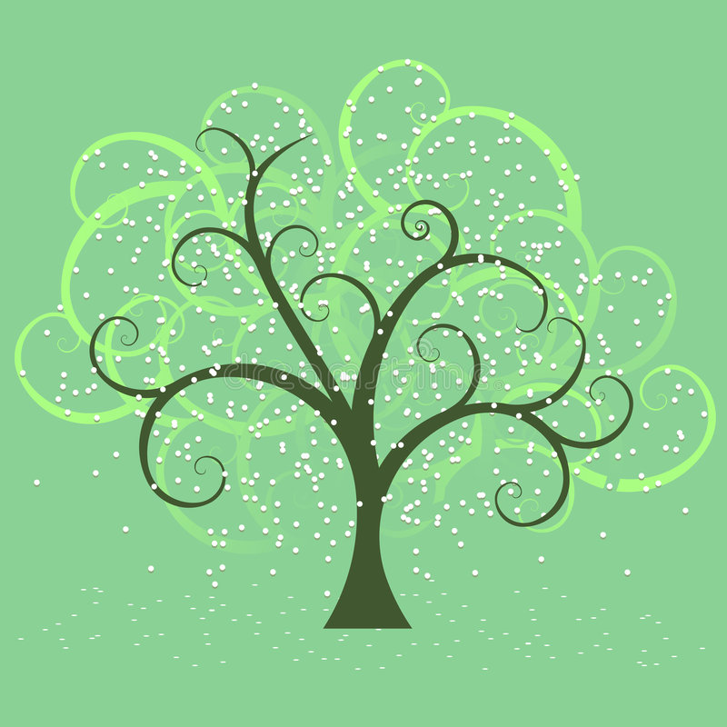 Swirly tree in spring stock illustration