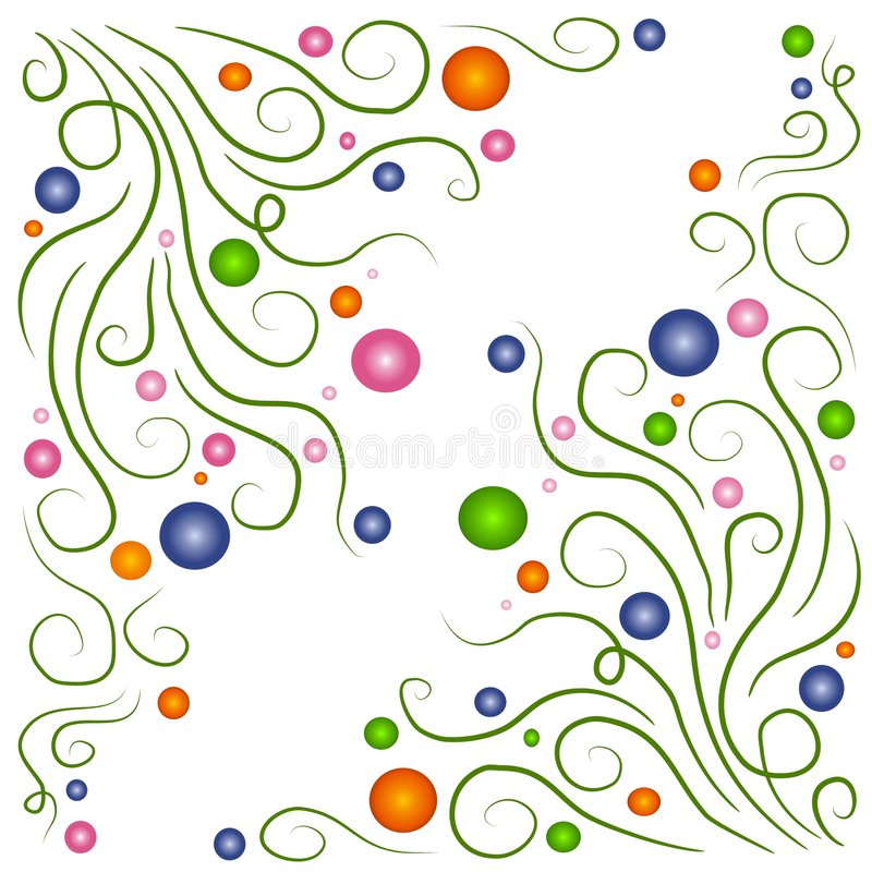 Swirly Vines Circles Patterns. An abstract texture and decorative background pattern of swirling vines and multicolored bubbles in orange, pink, blue, white and royalty free illustration