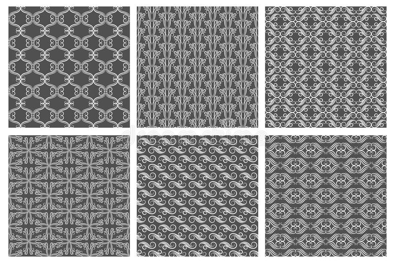 Swirly wallpaper textures. Vector flourish patterns, carpet backgrounds royalty free illustration