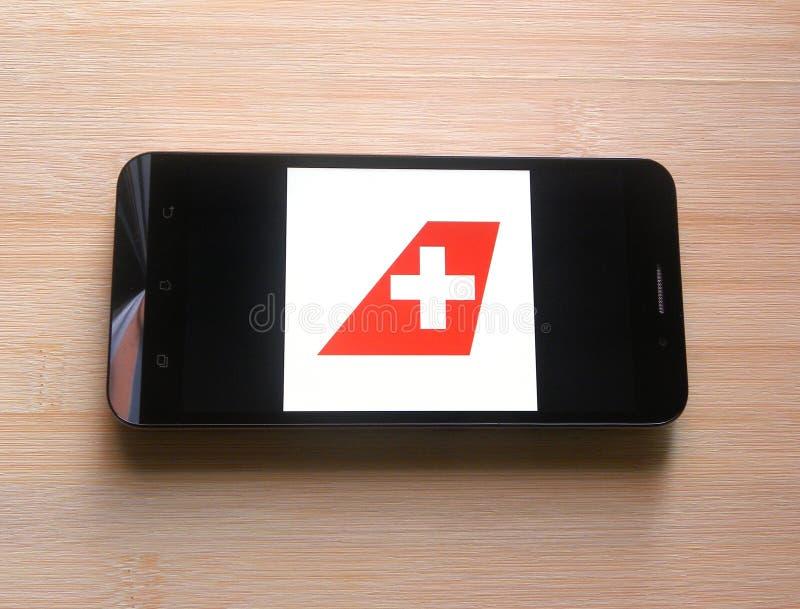 Swiss Air linjer app royaltyfri foto