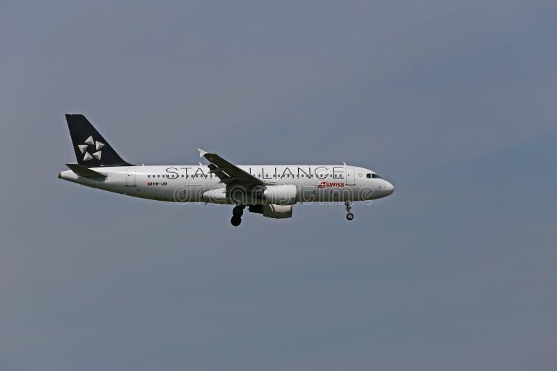 Swiss Airbus A320 landing royalty free stock photos
