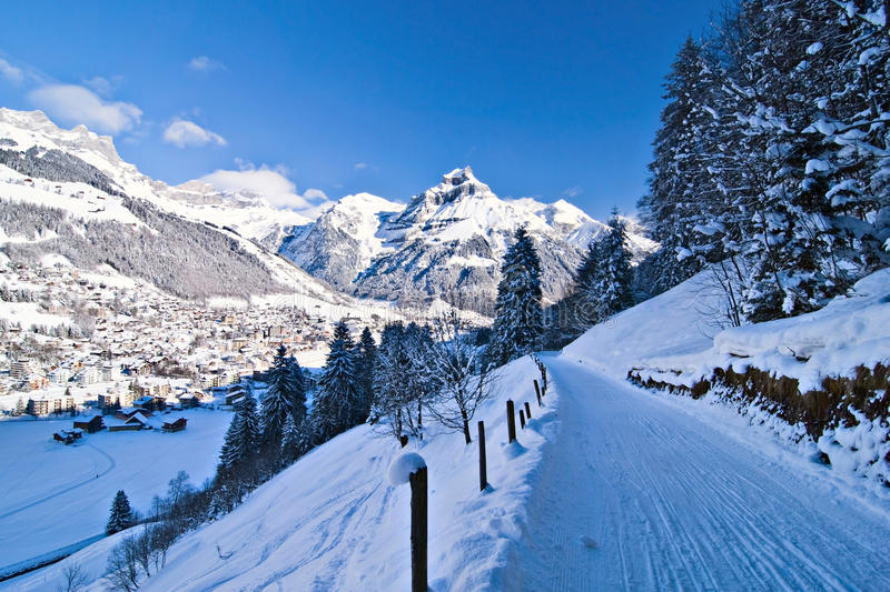 Swiss Alps. Engelberg and Swiss Alps by winter season royalty free stock photo