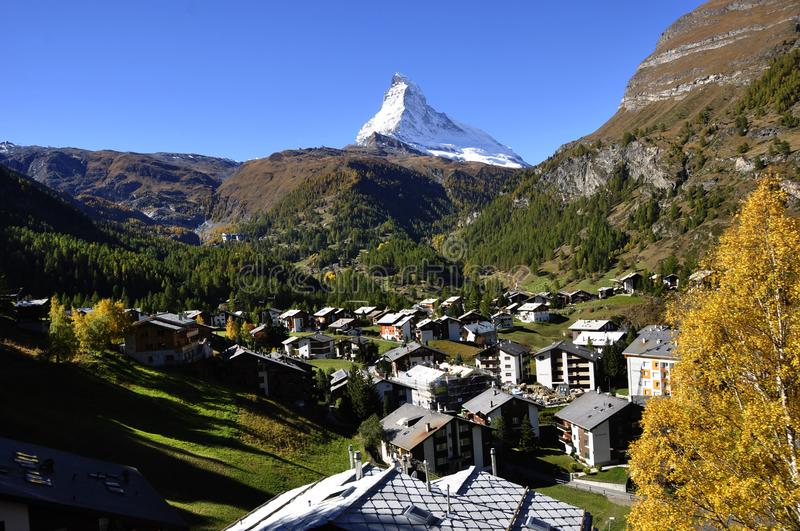 Swiss Alps: Breathtaking panoramic view of the Matterhorn from Z stock photos