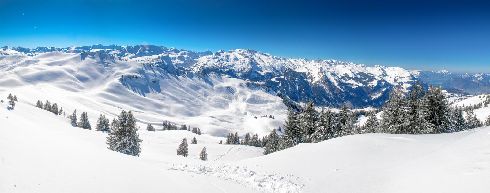 Swiss Alps covered by fresh new snow seen from Hoch-Ybrig ski resort, Central Switzerland royalty free stock photos