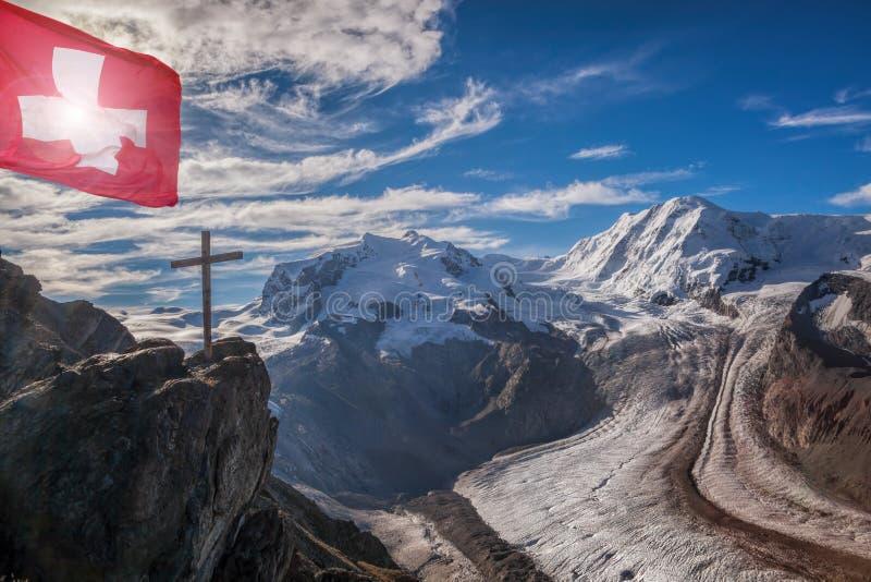 Swiss Alps with glaciers against blue sky, Zermatt area, Switzerland stock photography