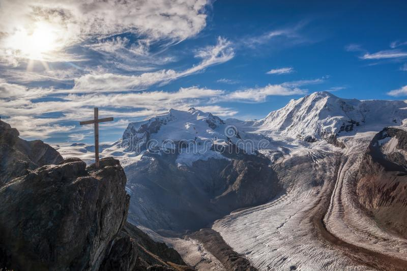 Swiss Alps with glaciers against blue sky, Zermatt area, Switzerland royalty free stock photography