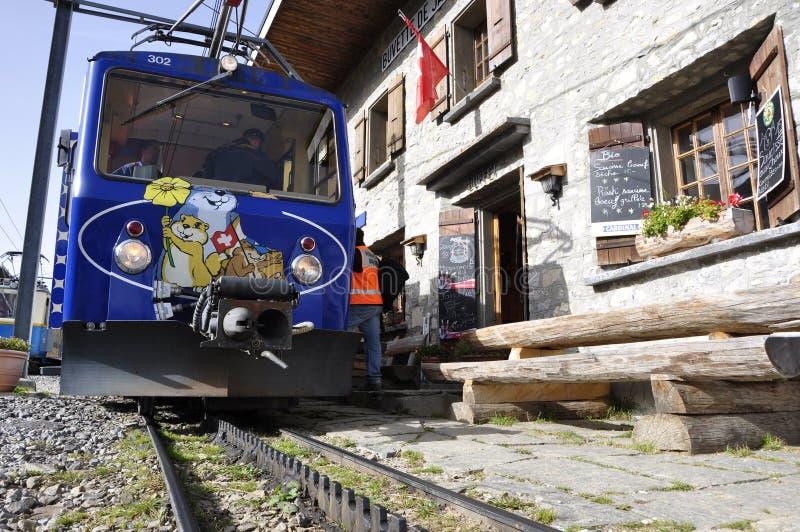 Swiss Alps: The Golden Pass Rochers-de-Naye train in Montreux. Switzerland: The Golden Pass Rochers-de-Naye train in Montreux is a famous tourist attraction royalty free stock photo