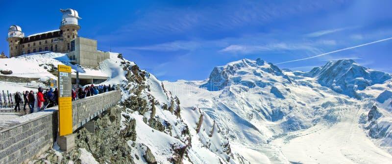 Swiss Alps and the Gornergrat Kulm Hotel royalty free stock image