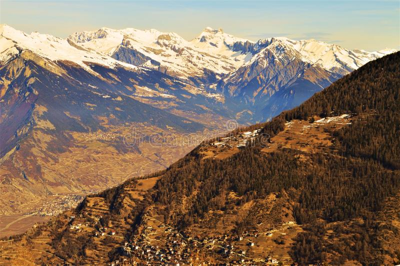 Swiss Alps landscape, vintage colors. Beautiful landscape in vintage hues of Swiss Alps which are high peaks, famous and touristic range of mountains in royalty free stock photos