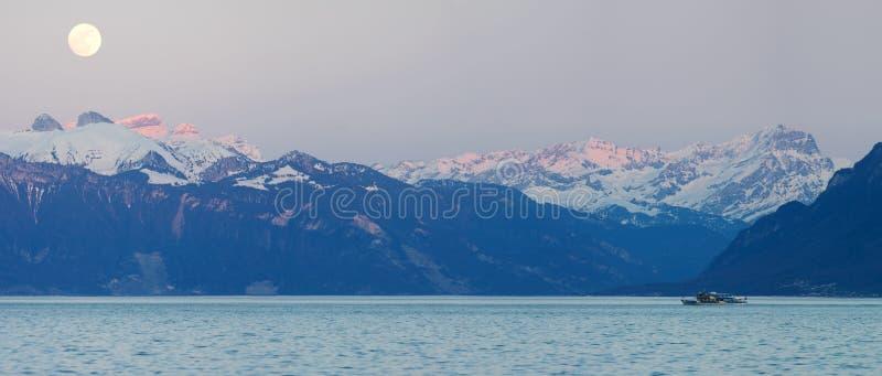 Swiss alps and Leman lake