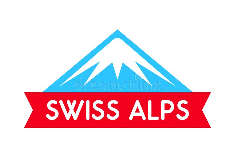 Swiss alps logo illustration, Vector emblem of mountain with ribbon and caption - Badge isolated on white background. Swiss alps logo illustration, Vector royalty free illustration