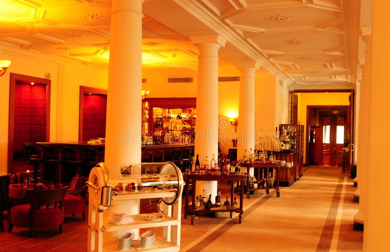Switzerland: The lovely bar at the Kempinski des Baign Hotel in. Swiss alps: The lovely bar at the Kempinski des Baign Hotel in St. Moritz offers a huge stock photos