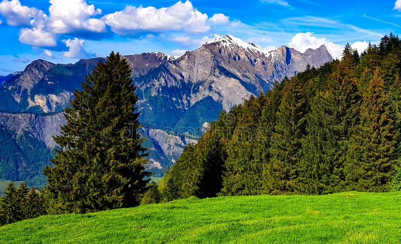 Swiss alps panorama mountain view stock images