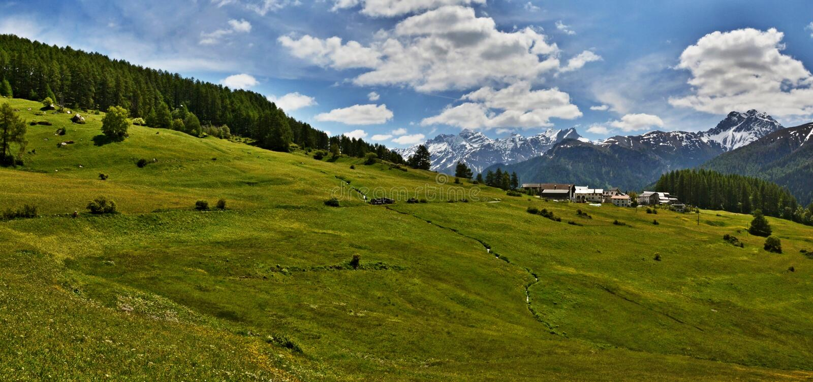 Swiss Alps-panoramic outlook of the Bos-cha