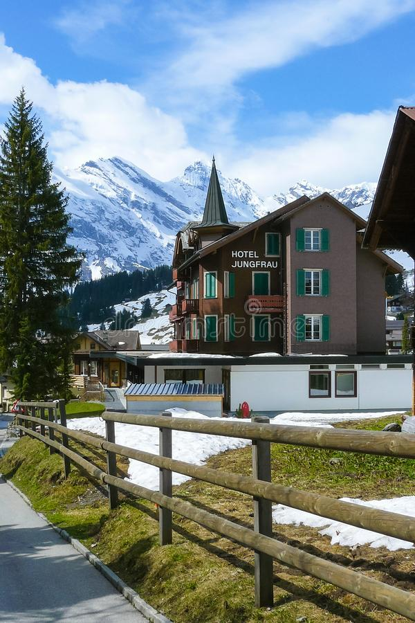 Swiss Alps seen from Murren in a sunny day stock photography