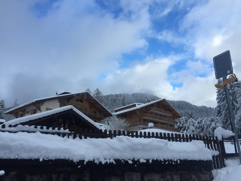 Swiss alps. Two chalets on a mountain royalty free stock photography