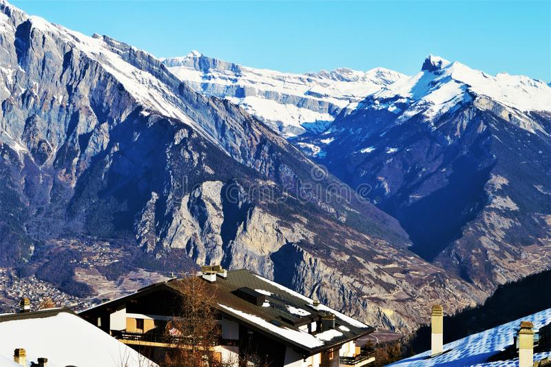 Swiss Alps under snow, high peaks stock image