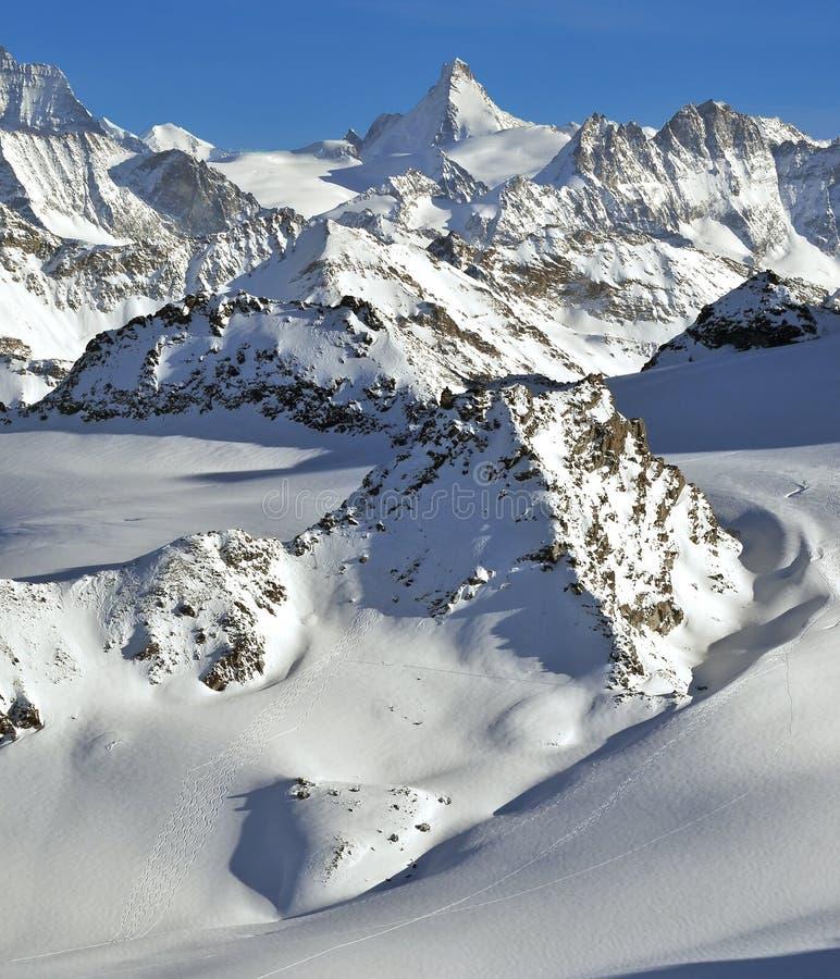 Swiss Alps Wilderness Skiing Stock Photo