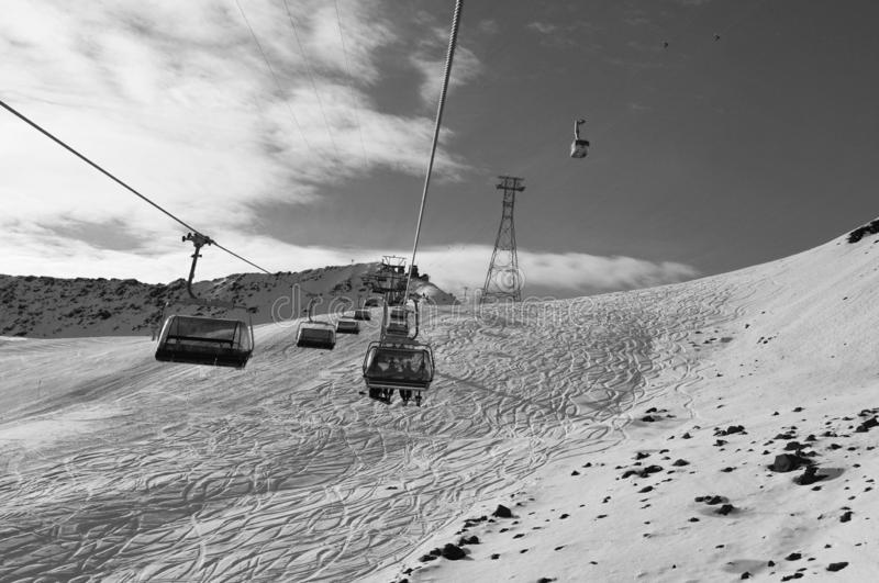 Swiss alps: Wintersport transport at Parsenn above Davos-City. Due to global clima change there is more and more artificial snow stock photos