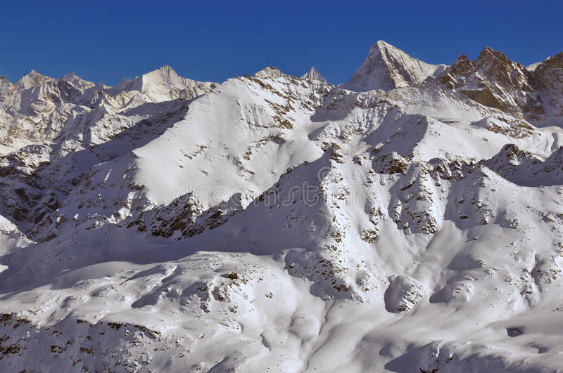 Swiss Alps: Zinalrothorn and Dent Blanche. Swiss Alps: the Zinalrothorn, the Pointe de Zinal and the Dent Blanche stock image