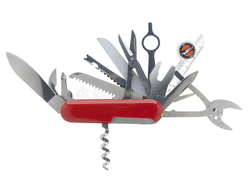 Swiss army knife, isolated. Swiss army knife with all blades open shot on white with clipping path stock photo