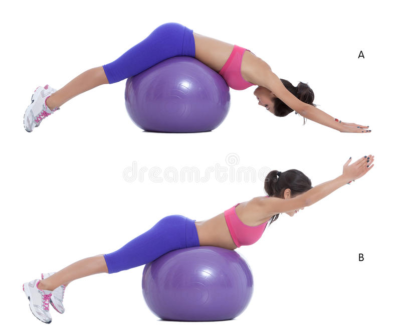 Swiss ball back extension stock image