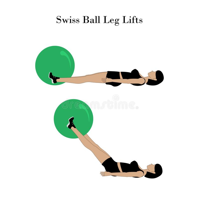 Swiss ball leg lifts exercise workout stock illustration
