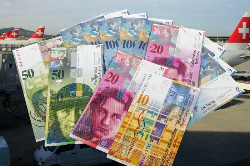 Swiss bank notes royalty free stock photos