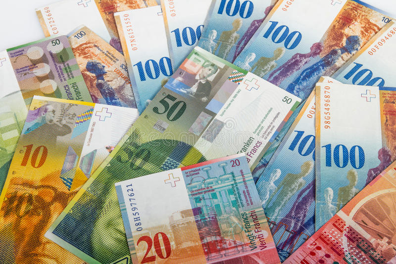 Swiss bank notes. Variety of Swiss bank notes royalty free stock photography