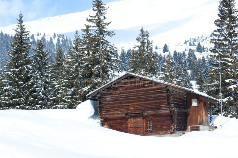 Download Swiss Barn in Winter stock image. Image of alpine, season - 13349891