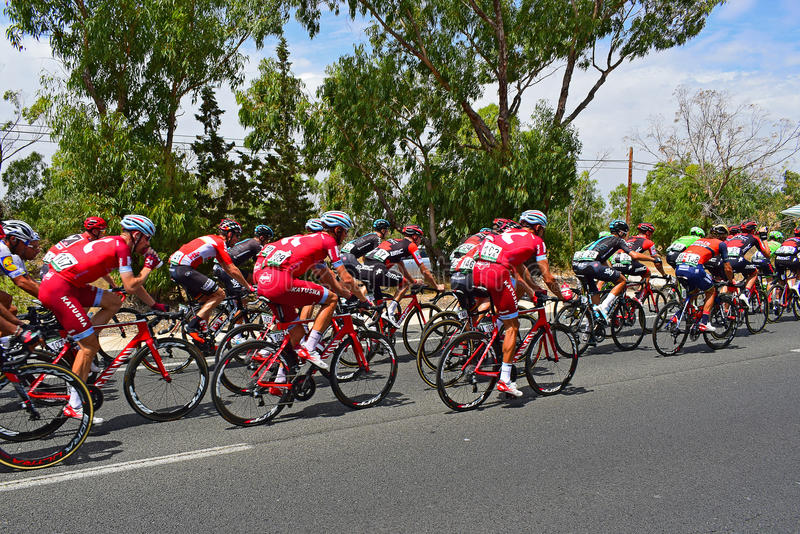 Team katusha Alpecine In The Peleton La Vuelta España stock photography