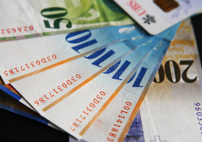 Swiss cash Banknotes stock images