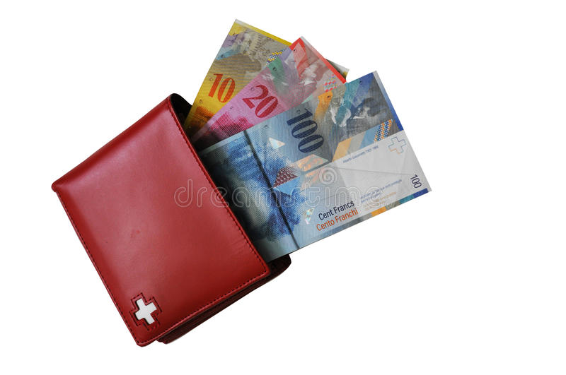 Swiss cash and wallet royalty free stock photos