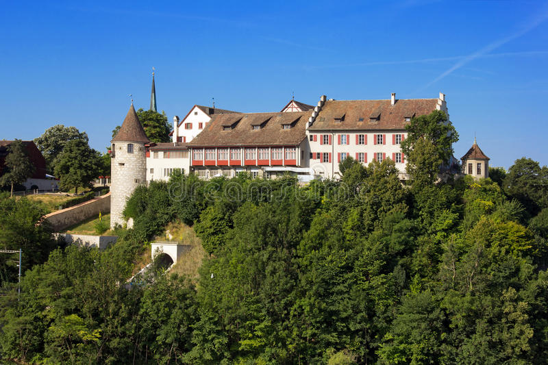 Swiss Castle Laufen, Switzerland. Castle Laufen on the rock over the Rhinefall - the biggest waterfall in Europe stock photos