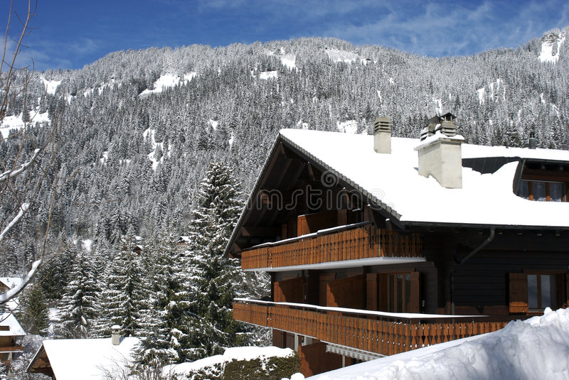 Download Ski Lodge Swiss Chalet In Winter Stock Photo