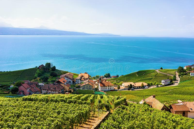 Swiss chalets at Lavaux Vineyard Terraces hiking trail of Switzerland. Swiss chalets at Lavaux Vineyard Terraces hiking trail, Lake Geneva and Swiss mountains stock photos
