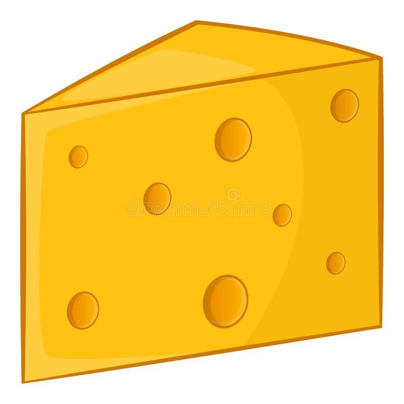 Swiss cheese icon, cartoon style vector illustration