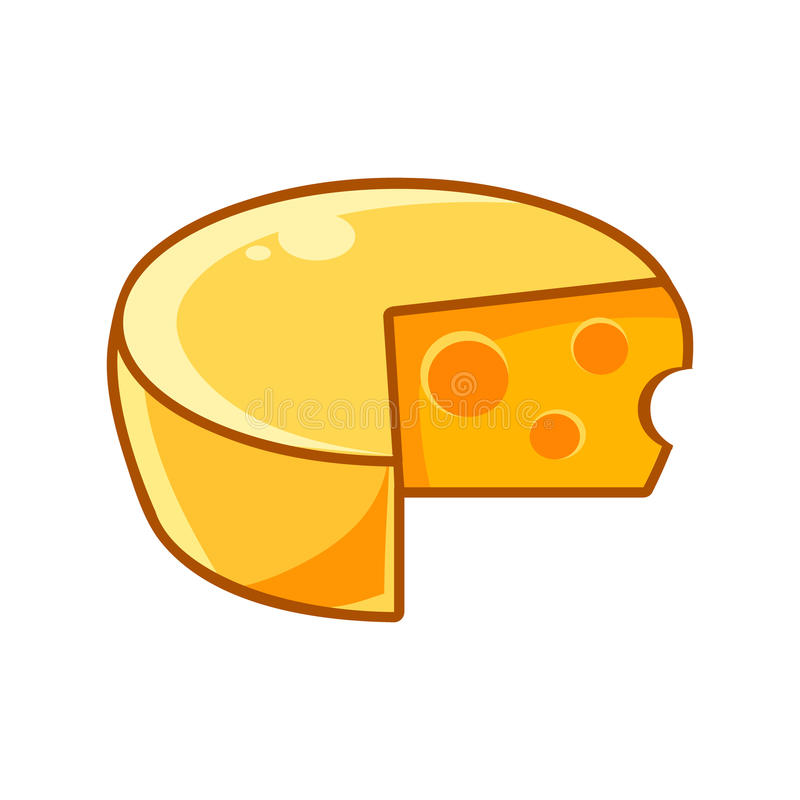 Swiss Cheeze Head With Holes, Food Item Outlined Isolated Childish Icon For Flash Game Design Or Slot Machine. Eatable Element Of Farming Video Game For vector illustration