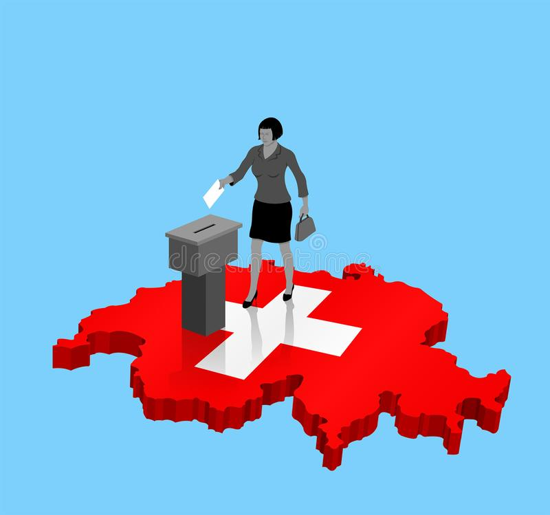 Swiss citizen voting for Switzerland election over an 3D Map. All the objects, shadows and background are in different layers stock illustration