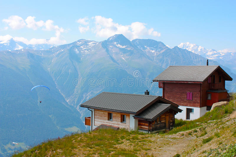 Swiss country houses. In the mountains royalty free stock photos
