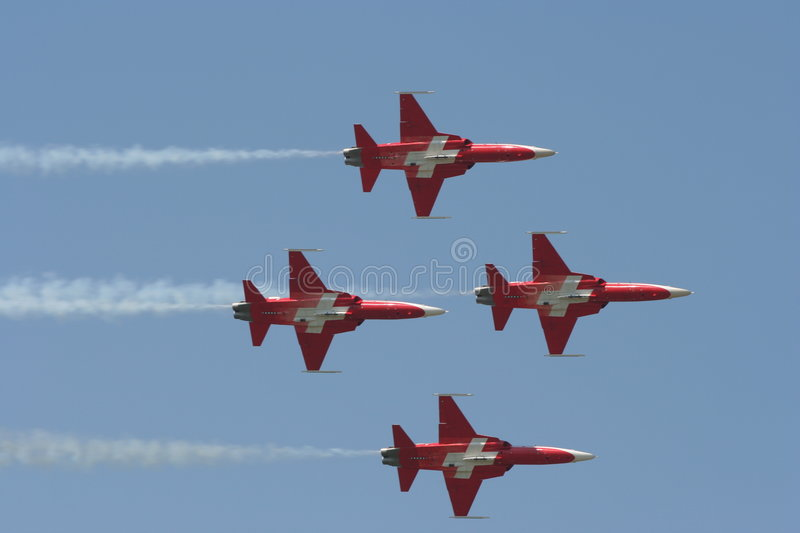 Swiss F-5E Tiger formation royalty free stock photos