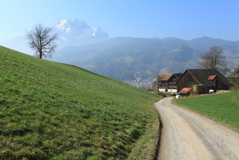 Swiss farmland stock photo