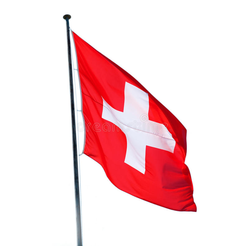 Swiss flag. Isolated on the white background royalty free stock image