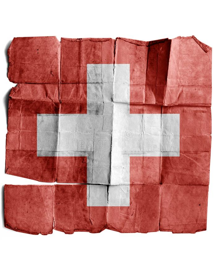 Swiss flag. On old paper royalty free stock photos