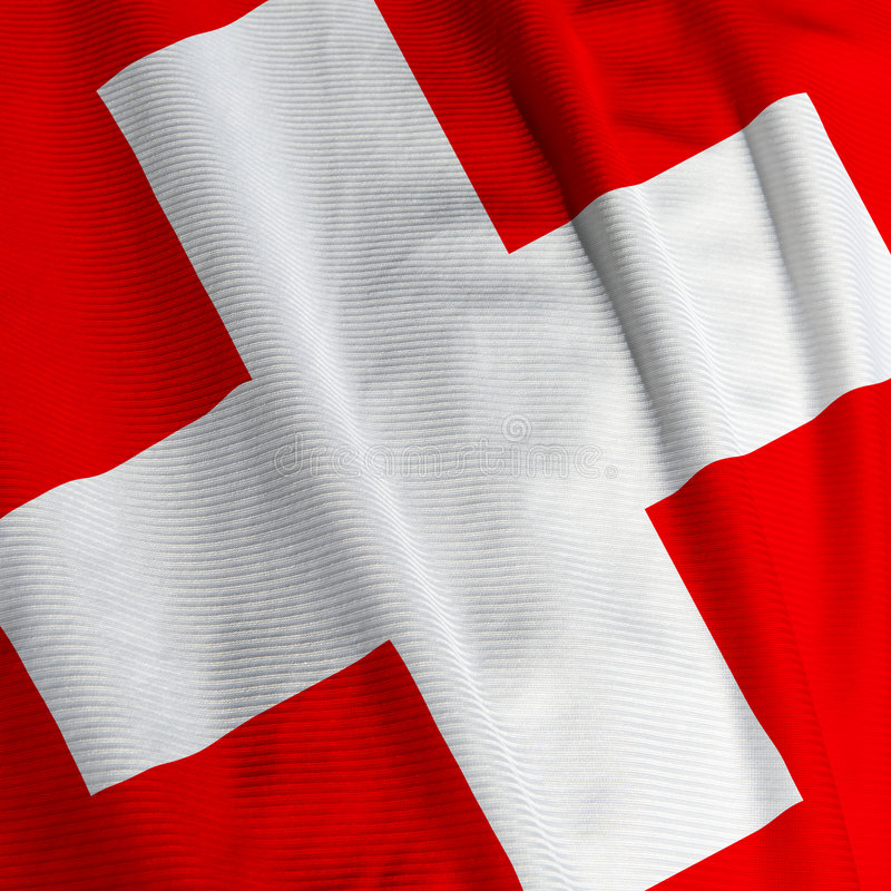 Swiss Flag Closeup. Close up of the Swiss flag, square image stock photography