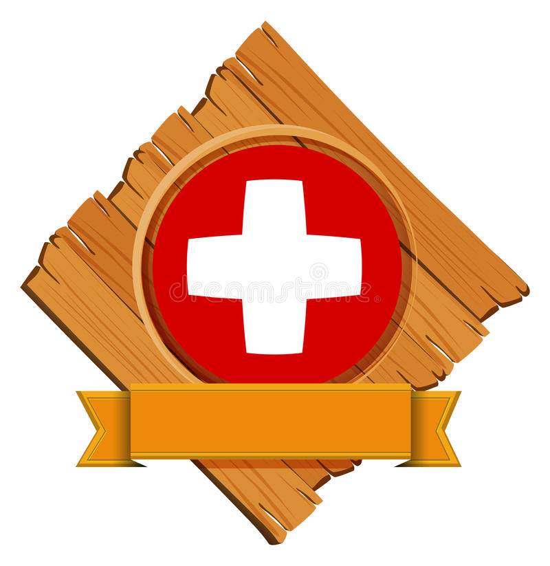 Swiss flag design on round badge with banner vector illustration