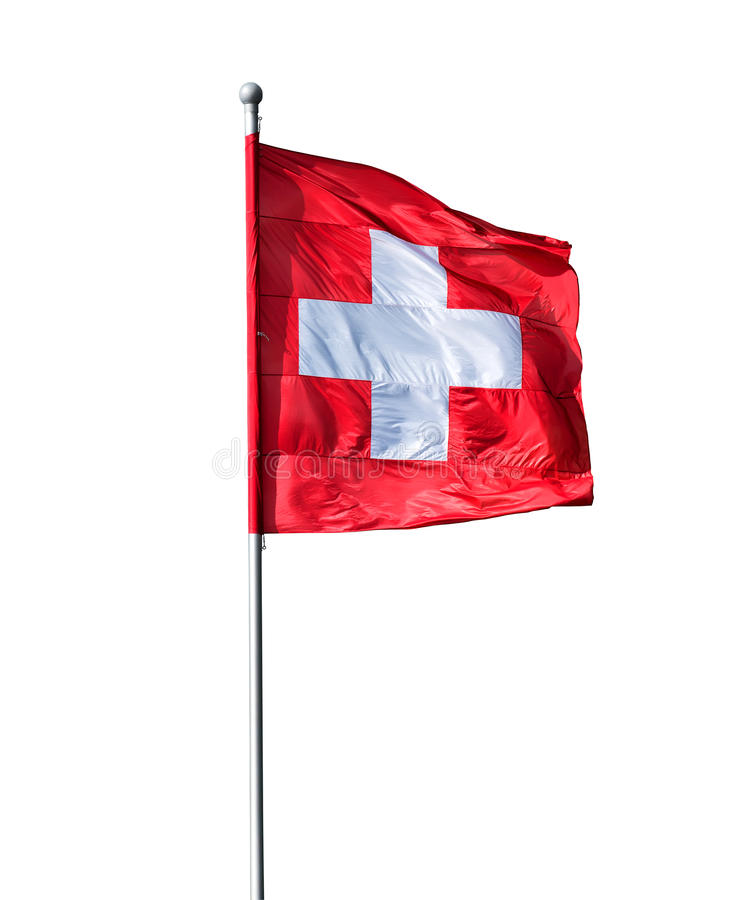 Swiss flag. Isolated on a white background royalty free stock image