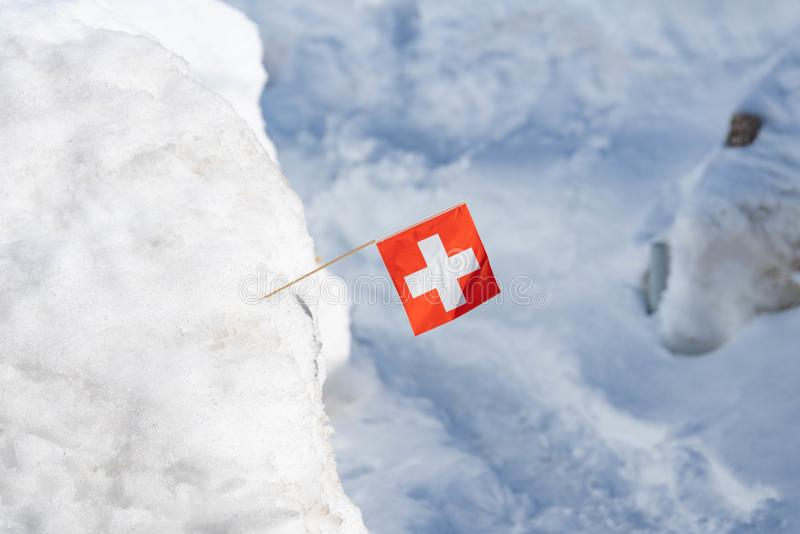 Swiss flag in the snow. A small Swiss flag in a heap of snow royalty free stock images