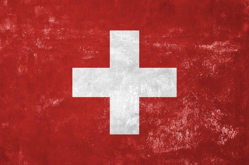 Swiss Flag. Switzerland - Swiss Flag on Old Grunge Texture Background stock photo