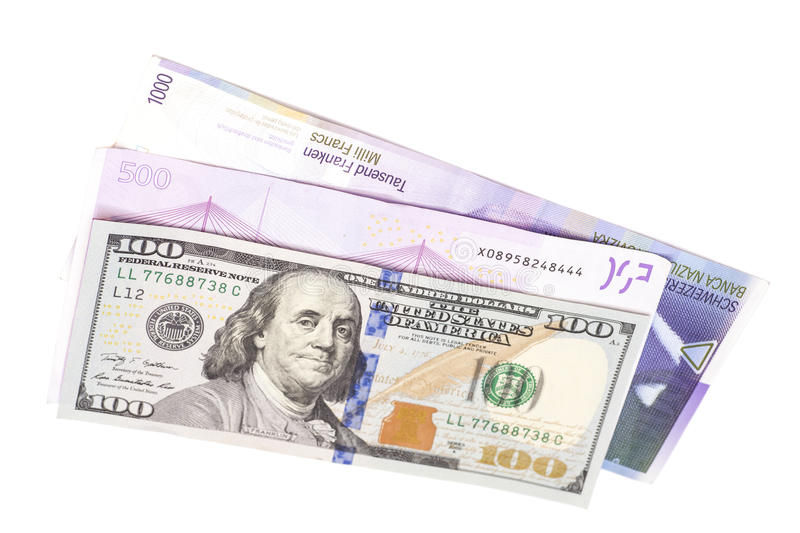 Swiss Franc,American dollars and Euro stock images